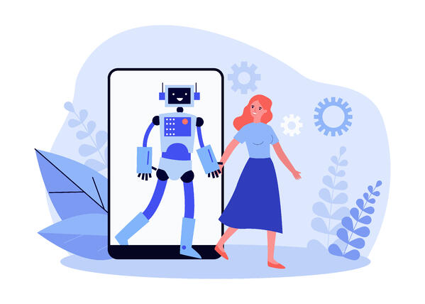 Happy_woman_holding_hand_of_robot_from_smartphone