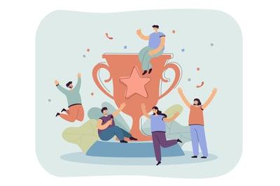Tiny happy winners near big golden cup